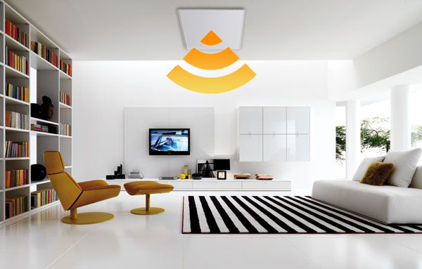 White 600 X 600 Infrared Heating Panel In A Living Room